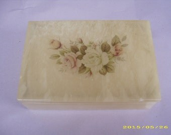 Vintage Alabaster Flower Design Rectangle Jewelry Trinket Box