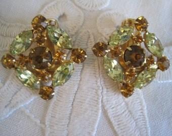 Vintage Rare Weiss Pale Yellow Topaz Earrings Bride Bridal Wedding