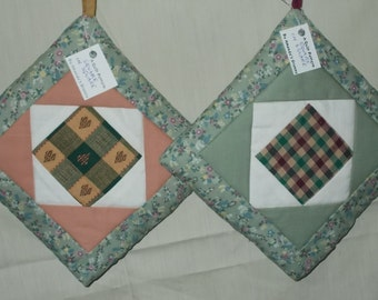 POTHOLDERS (#33)Square In Square Traditional Quilt Design, Moss Green, Tans Scrappy, US Made, Primative Ranch Loft Decor