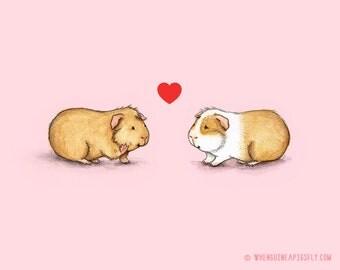 Be Mine Guinea Pig Valentine Print - Piggies in Love