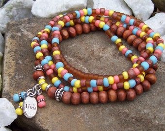 Spring Bohemian Beaded Stretch Bracelet Set, bracelet with Live charm ,  pink brown yellow, boho hippie bracelet stack