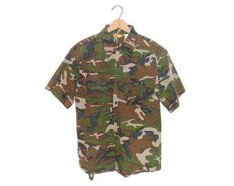 Vintage Ranger Camo 100% Cotton Short Sleeve Button Up Hunting Shirt Made in USA - Large (OS-CM-3)