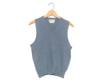 Vintage Puritan Sportswear Slate Blue Wool Blend Soft V-Neck Sweater Vest Made in USA - Small (os-sv-2)