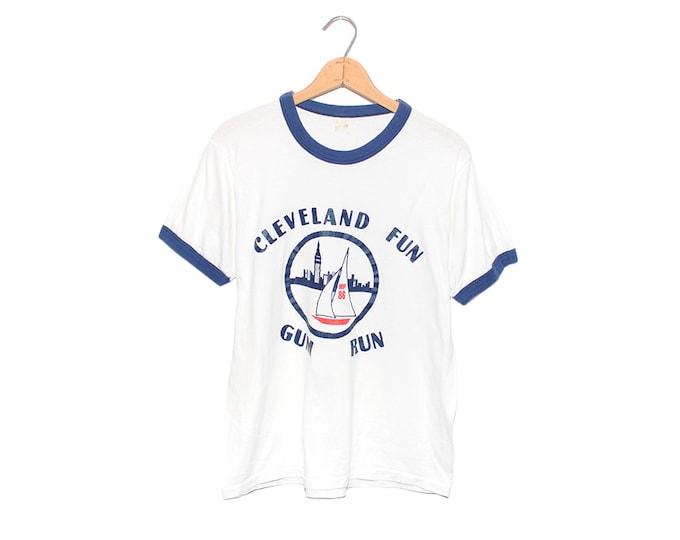 Vintage 1986 Cleveland Fun Gum Run Sail Boat White Ringer T-shirt - Large