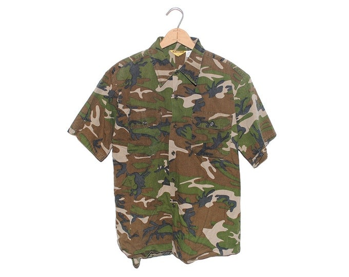 Vintage Ranger Camo 100% Cotton Short Sleeve Button Up Hunting Shirt Made in USA - Large