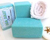 SEA SALT Soap - Eucalyptus and Spearmint scent with shea butter and coconut milk - spa savon sel - handmade by Bonny Bubbles