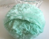 SEAFOAM Powder Puff - big and ultra soft mint powder duster - gift boxed - 5 inch pouf - handmade by Bonny Bubbles