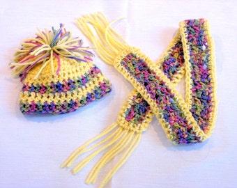 Doll Hat, Doll Scarf, American Girl, Gotz, Madame Alexander, Sasha, My Twinn, Winter Hat, Winter Scarf, Crocheted