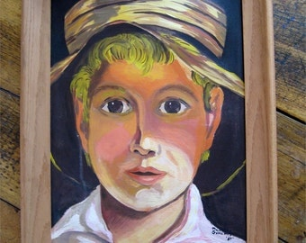 Portrait Of a Farm Boy Oil on Canvas Signed Dated 1957 Framed in Wood