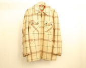 60s WOOL FLANNEL long sleeve button up JACKET