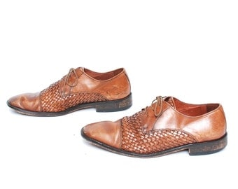 womens size 9 10 OXFORD WOVEN brown leather made in ITALY