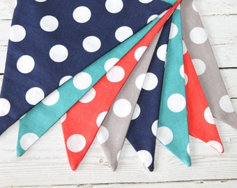 Polka Dot - Fabric Bunting - Turquoise - Navy - Coral - Gray