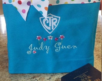 Personalized Scripture tote with CTR shield and flowers- Personalized at NO additional charge