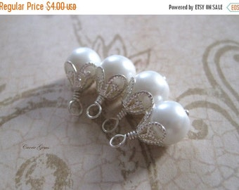 20% OFF ON SALE 4 pcs White Swarovski Pearl, Silver Plated Wire Wrapped Dangle 8mm Beads Drop