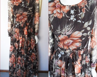 Vintage 70s Autumn Browns Floral Chiffon Long Sleeve Maxi Dress.M/L.Bust 38-40.Waist 32