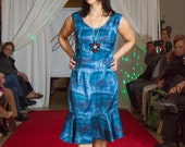 Blue Sleeveless dress with flare bottom