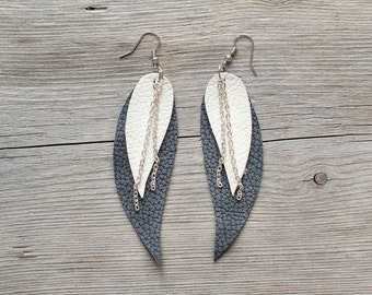 Grey and white Feather Leather Earrings