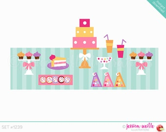 Instant Download Dessert Table Buffet Cute Digital Clipart, Candy Table Clip art, Cake Graphics, Birthday Party Buffet Illustration, #1239