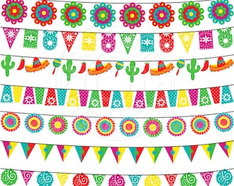 Fiesta Garland Cute Digital Clipart for Invitations, Card Design, Scrapbooking, and Web Design, Fiesta Clipart