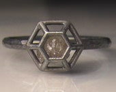 Rough Diamond Engagement Ring, Raw Diamond Ring, Caged Diamond in Blackened Sterling Silver