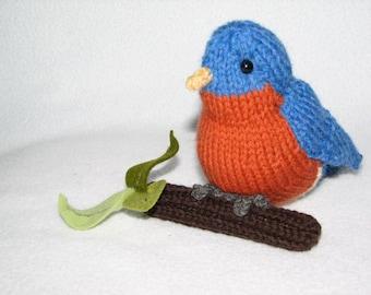 Blue Bird -  Hand Knit Bird - Room Decoration - North American Bird