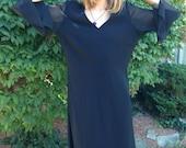 vintage plus size dress/80s black dress/loose fit/shift dress/sheer sleeves/plus figure