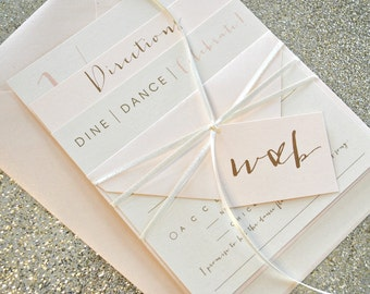 Bronson Wedding Invitation Suite with Monogram Tag & Tie - Champagne Gold, Blush Pink, Ivory (colors/text customizable)
