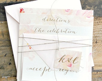 Lanna Floral Watercolor Wedding Invitation Suite with Twine Tie and Tag - blush and shades of pink and ivory(colors/text customizable)