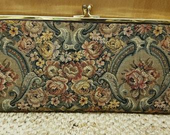 Vintage HARRY LEVINE Tapestry Evening Bag Purse