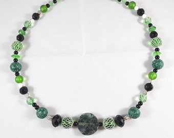 Green and Black Necklace with Zoisite Focal