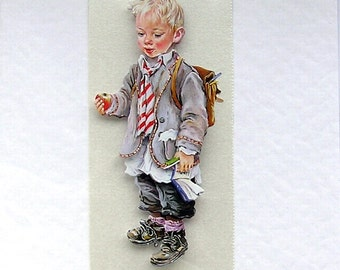 "Hand Crafted 3D Decoupage Card, With Love (1845) ""First Day at School"", Birthday Card, Graduation Card, Brother Card, Grandson Card"