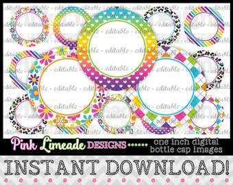 "EDITABLE Girly Rainbow Colors  - INSTANT DOWNLOAD 1"" Bottle Cap Images 4x6 - 070e"