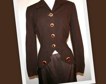1940s Hudson's Detroit Woodward Shops/Brown Wool/Nipped Waist/Vintage Blazer Jacket