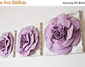 "STARS and STRIPES SALE Wall Decor Set of Three -Lilac Roses on Neutral Gray Tarika Print 12 x12"" Canvas Wall Art- Flower Nursery Decor Set"
