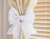 July Sale White Bow Curtain Tie Backs. TWO Decorative Tiebacks Curtain Holdback -Drapery Tieback- Baby Nursery Decor. Cottage Chic.