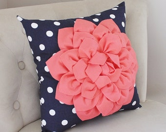 Beach House Pillow -Light Coral Flower on Navy Polka Dot 14 x 14 Pillow - Coral Nursery Pillow - Nautical Decor