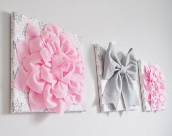 Pink, Silver and White Damask Home Decor Wall Hanging Set of Three Dahlia Flowers and Bow Bathroom Bedroom Nursery Wall Art Playroom