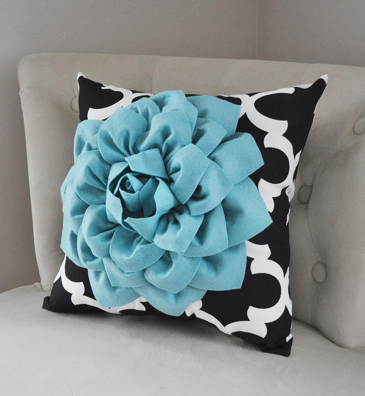 Quatrefoil Decorative Pillow : Decorative Pillows Black Quatrefoil Pillow with Village Blue
