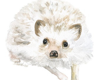 Hedgehog Watercolor Painting 5x7 Giclee Print Reproduction - Woodland Animal - Nursery Art