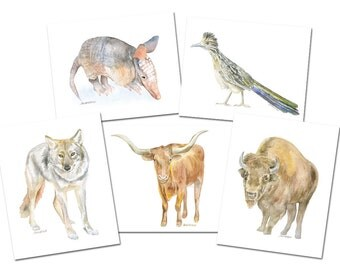 Texas Animals Watercolor Card Set Greeting Cards 5x7 A7 size - Western Art Paintings