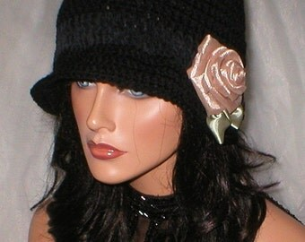 20% OFF SALE Crochet Women Black Ebony Suede Taupe Organza Rose 1920's Cloche Flapper Hat