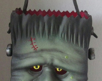 Ceramic Frankenstein Bag ~ Size large ~ Candle Holder
