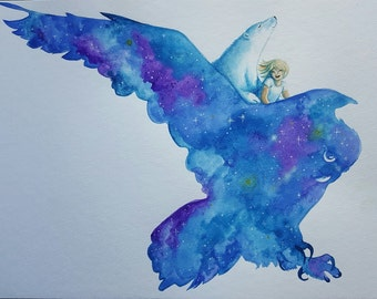"On The Wings Of The Night  11"" x 14"" Print from Original Children's Illustration"