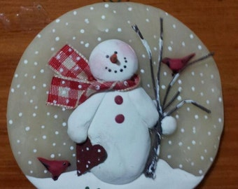 """Paper heart ~ 3"""" hand formed translucent round snowman ornament, personalize free"""