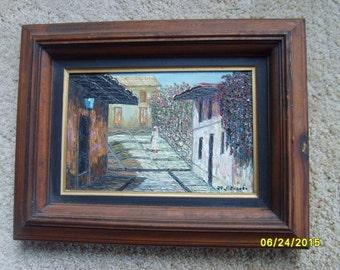 Vintage Oil Painting, Street Scene, Signed Oil Painting Girl on Street, Original Oil Painting