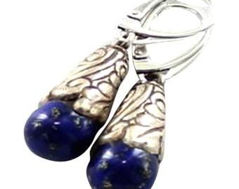 Lapis Sterling Earrings Teardrop Tibetan Style