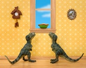 T. rex twins dinosaur diorama print - Primordial Pie