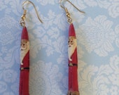 Victorian Santa Claus Dangle Earrings Resin Holiday Christmas Earrings