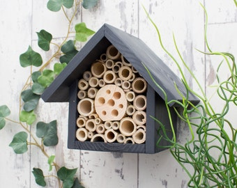 Mason Bee House, Bee Hotel, Insect House, in 'Urban Slate'. Can be personalised.