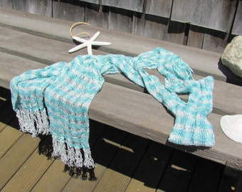 Lightweight Lacy Spring Summer Scarf, Hand Woven Tropical Turquoise Blue Scarf, Casual Coastal Beach Cottage French Chic Mens Womens Fashion